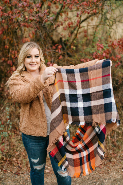 All Tied Up In You Pumpkin Plaid Infinity Scarf