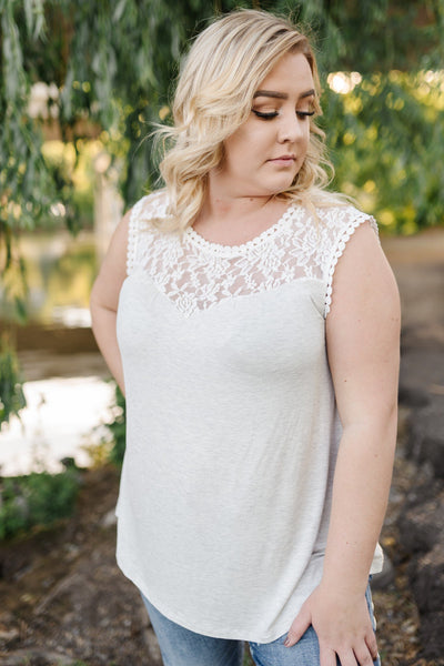 Heathered Lacy Tank