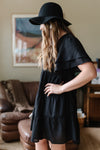 Black Tiered V-Neck Dress