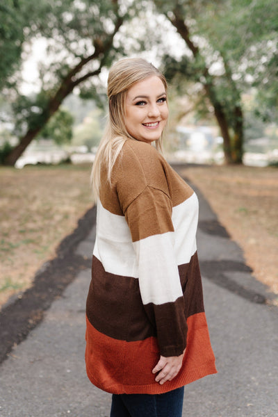 Let It Be Fall Color Block Cardigan