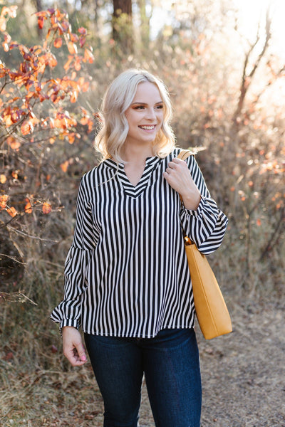 A Touch Of Vertigo Striped Top - Thongin' It Boutique