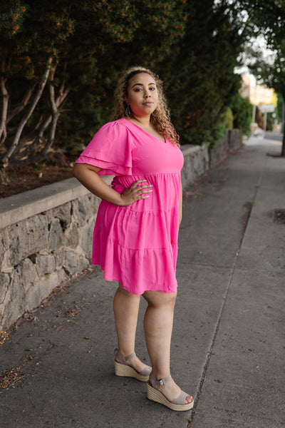 Pink Tiered V-Neck Dress - Thongin' It Boutique