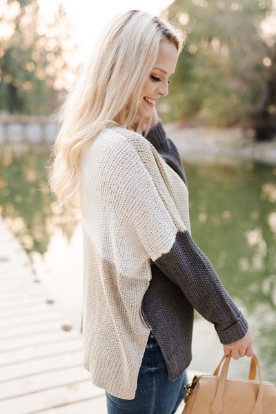 Step Out Of The Boxy Sweater In Taupe - Thongin' It Boutique