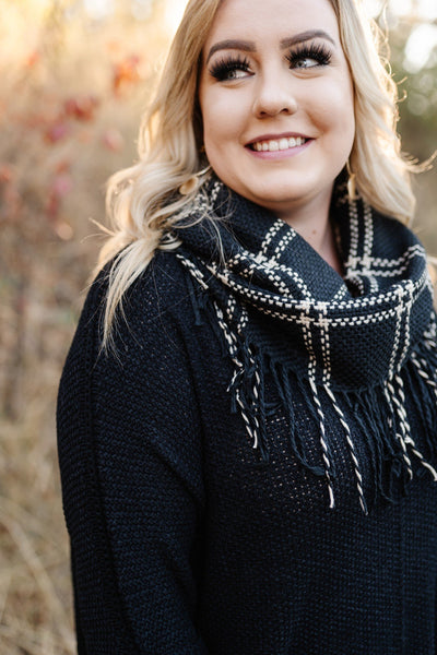 All Tied Up In You Black and Cream Knit Infinity Scarf