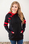 Black and Red Varsity Hoodie - Thongin' It Boutique