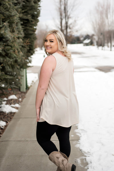 Summer Lovin' Oatmeal Sleeveless Top - Thongin' It Boutique