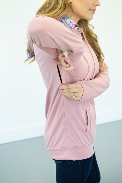 Blush Floral Accented Hoodie - Thongin' It Boutique