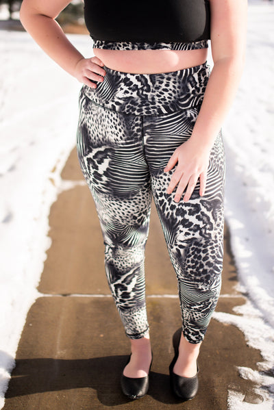 Strong To The Core In Safari Athletic Leggings
