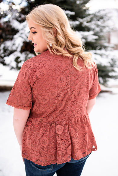 All Laced Up Top In Tawny Rose - Thongin' It Boutique