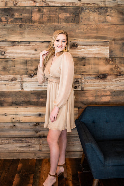 We'll Toast To That Champagne Dress - Thongin' It Boutique