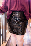 Big City Nights Skirt In Jet Black Sequins - Thongin' It Boutique