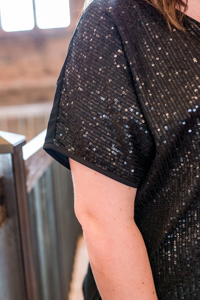 Bothered & Bedazzled Black Sequined Top