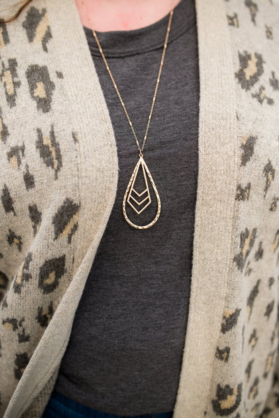 Chevron Charm Hammered Gold Tear Drop Necklace