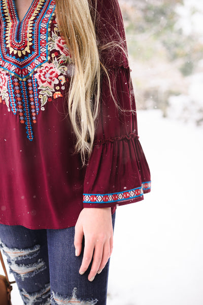 'Till We Meet Again Burgundy Embroidered Top