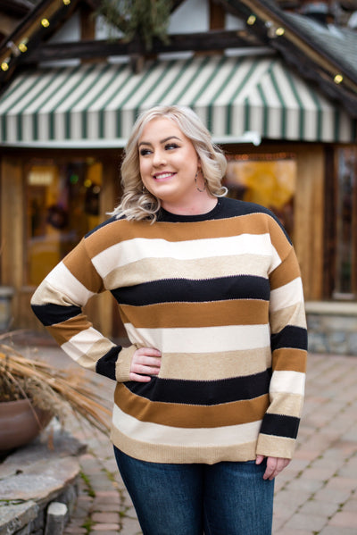 Keep Me In Mind Color Block Sweater In Black Mocha - Thongin' It Boutique