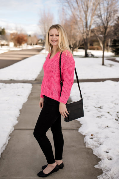 Spring Forward Sweater In Neon Pink - Thongin' It Boutique