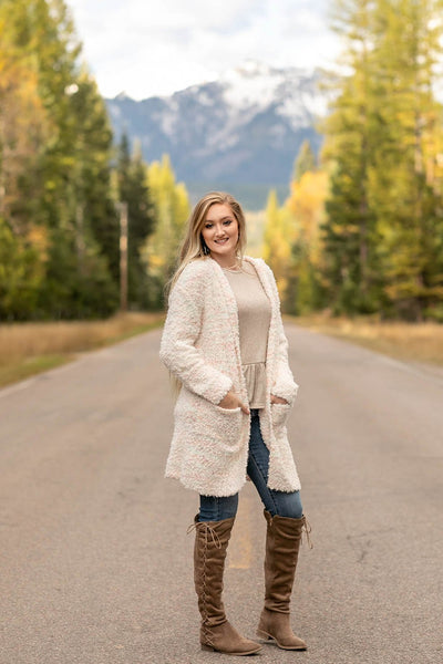 Snow In The Mountains Ivory Multi Cardigan - Thongin' It Boutique