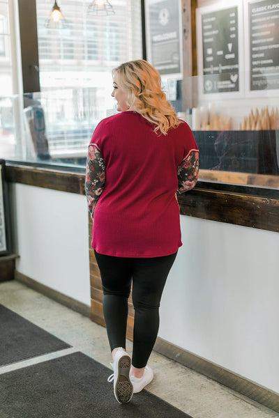 Always Have An Angle Burgundy Floral Top - Thongin' It Boutique