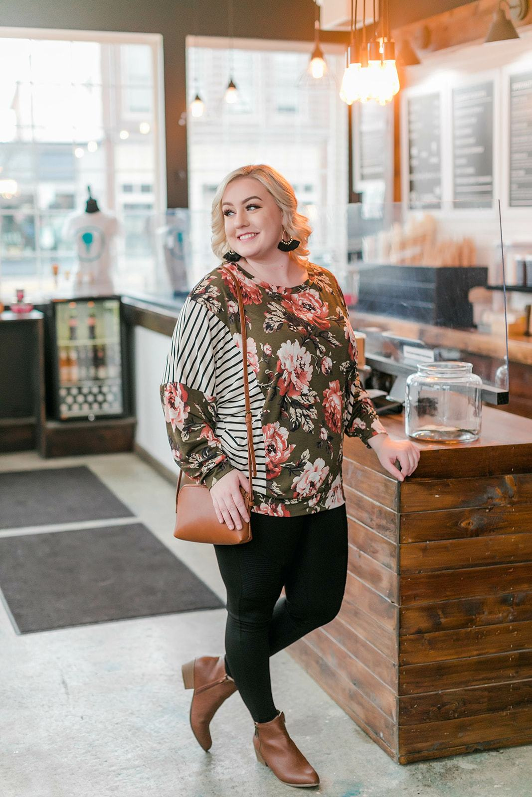 Olive Branch Floral Top - Thongin' It Boutique