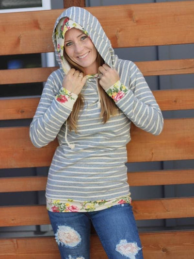 Ampersand - Grey Stripes N Floral DoubleHoodie