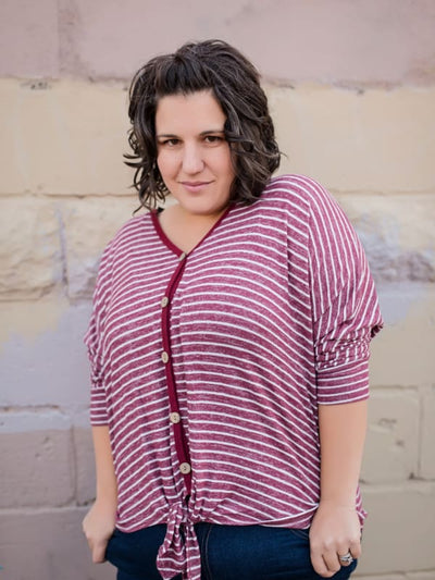 Burgundy Striped Tie Front Top - Tops
