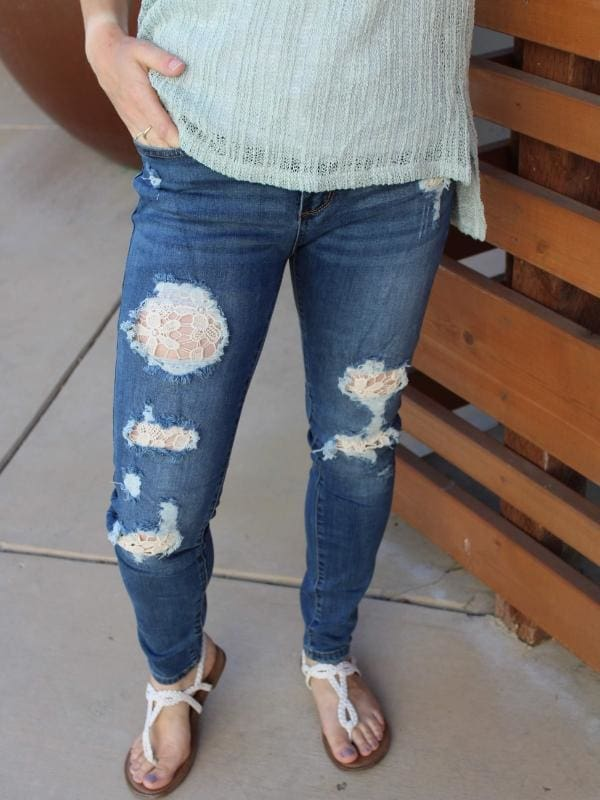 Lace Patched Skinnies