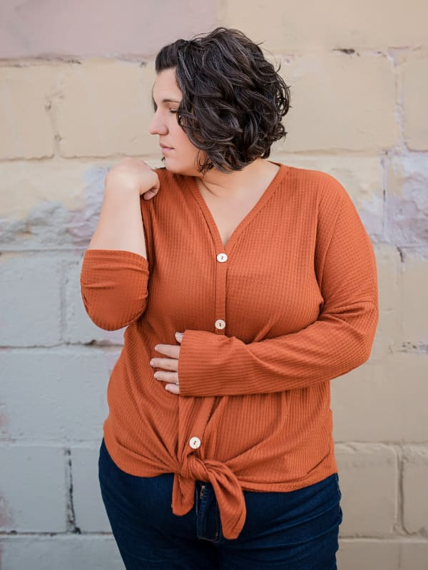 Rust Waffle Tied-Knot Top - Tops