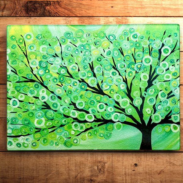 Win a Green Tree Glass Chopping Board by Louise Mead