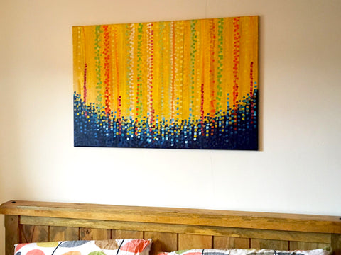 Customer Photo - Yellow & Blue Abstract Painting by Louise Mead