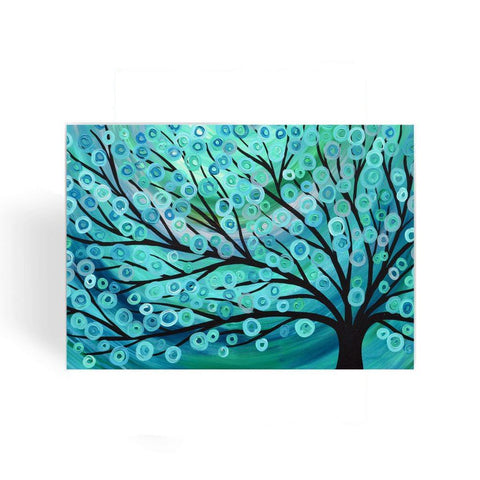 Teal & Turquoise Tree Greeting Card - Louise Mead
