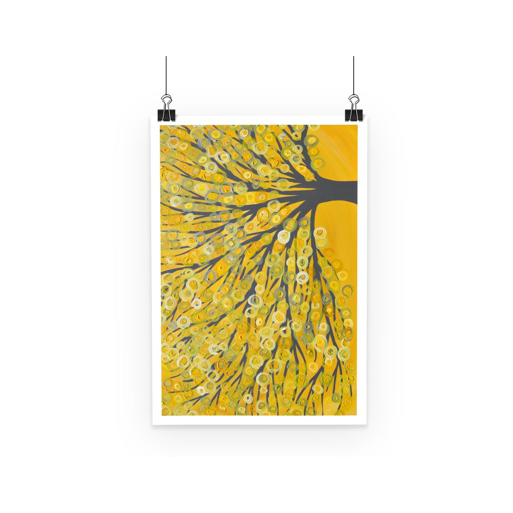 Yellow & Grey Abstract Tree Poster
