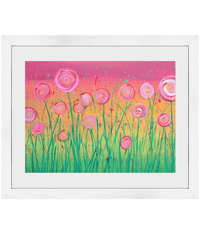 Rainbow Flowers Framed Print - Louise Mead