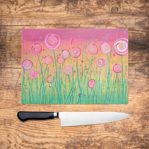 Pink Flowers Glass Chopping Board