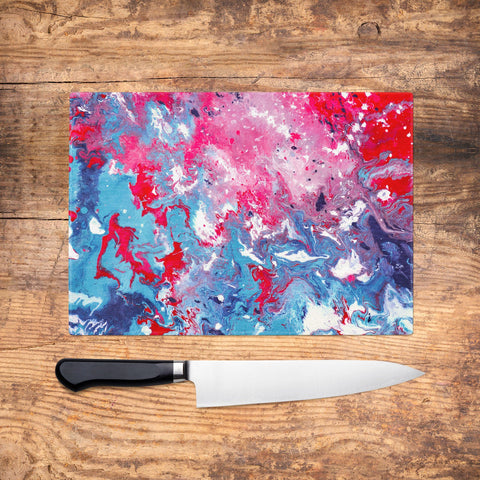 Red & Blue Glass Chopping Board