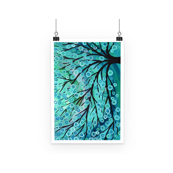 Teal & Turquoise Tree Poster - Louise Mead