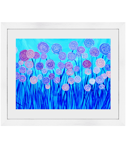 Lilac & Blue Flowers Framed Print - Louise Mead
