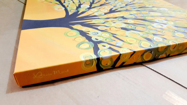 Yellow & Grey Tree Canvas Print