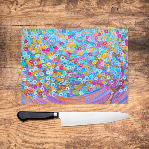 Purple Tree Glass Chopping Board