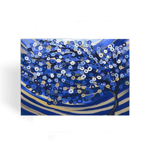 Blue & Gold Tree Greeting Card - Louise Mead