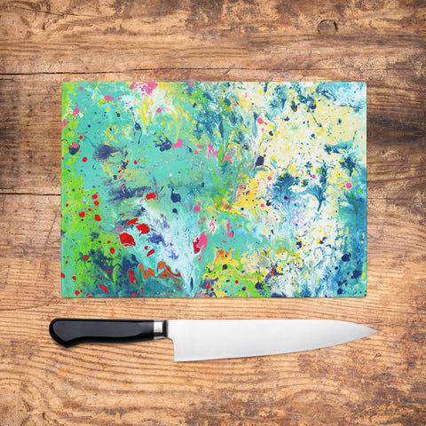 Teal & Green Glass Chopping Board