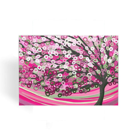 Pink & Sage Green Tree Greeting Card - Louise Mead