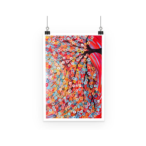 Red Abstract Tree Poster - Louise Mead