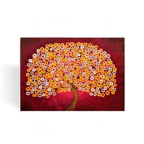 Red & Metallic Tree Greeting Card - Louise Mead