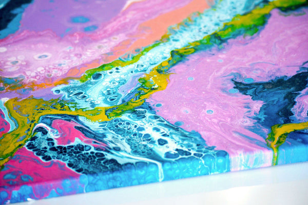 Edge of a fluid painting on canvas