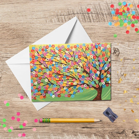 Colourful Green Tree Greeting Card