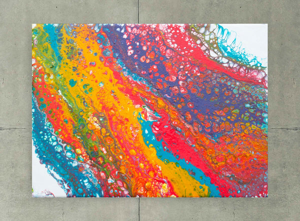 Abstract expressionist painting of a rainbow with cells