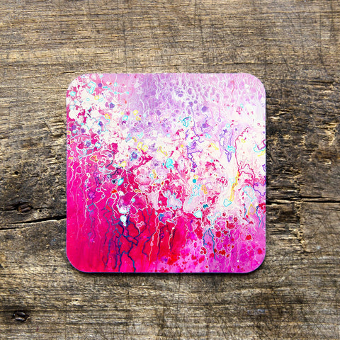 Pink Abstract Coasters - Louise Mead