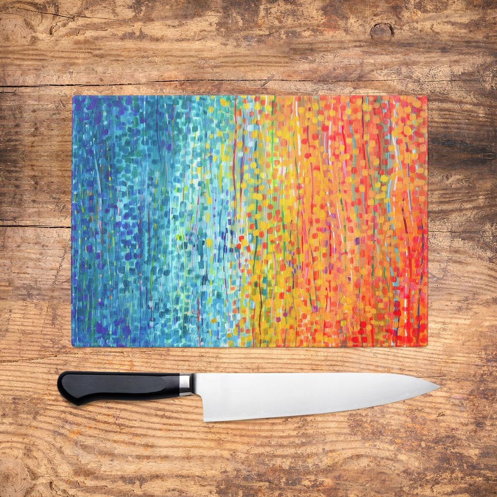 Turquoise & Orange Glass Chopping Board - Louise Mead
