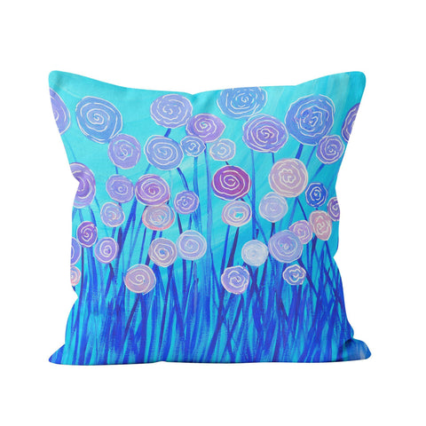 Blue & Purple Flowers Cushion - Louise Mead