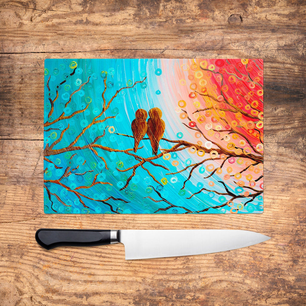 Turquoise Lovebirds Glass Chopping Board